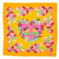 Christian Lacroix 1990s Marigold Yellow Scarf with Rose, Heart and Cherub Design