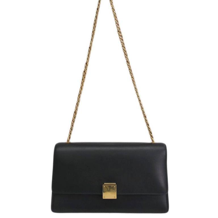 Celine Black Calfskin Leather Gold Chain Hardware Flap Box Shoulder Bag For  Sale af772f69cd551