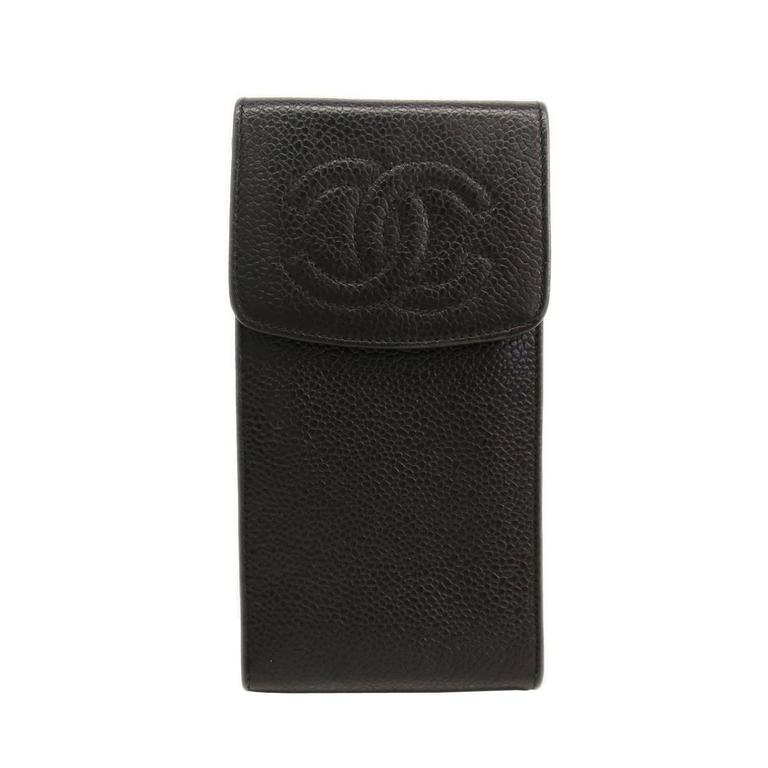 Chanel Black Caviar Leather CC Logo Cell Phone Tech Accessory Case Bag 1