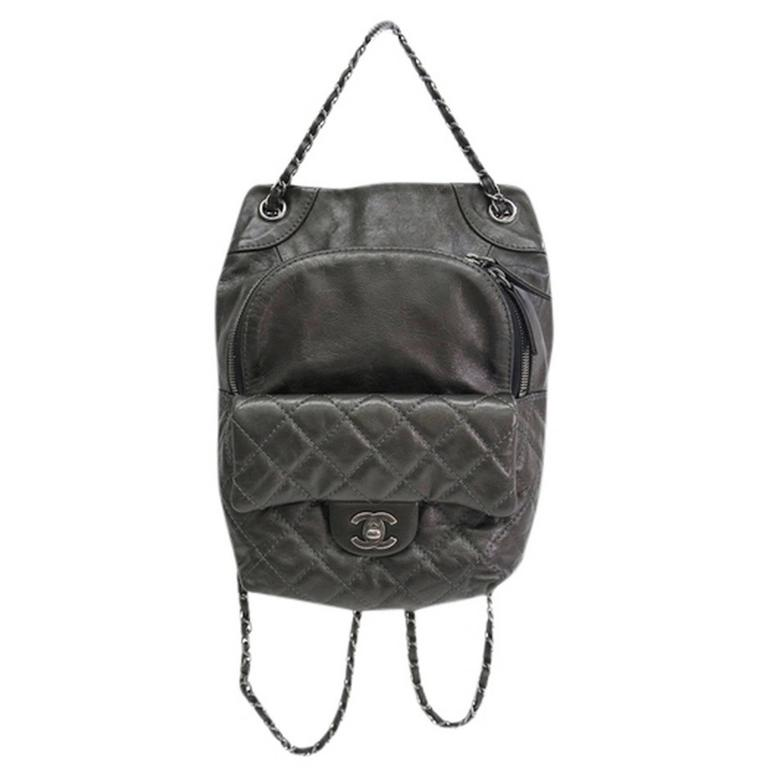 Chanel Gunmetal Black Gray Quilted Lambskin Silver Chain Hardware Backpack Bag For Sale