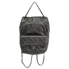 Chanel Gunmetal Black Gray Quilted Lambskin Silver Chain Hardware Backpack Bag