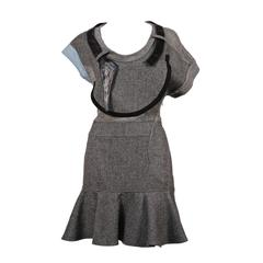2002 BALENCIAGA by Nicolas Ghesquiere wool and leather patchwork dress