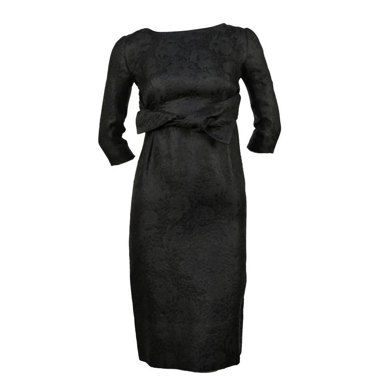 1960's CRISTOBAL BALENCIAGA haute couture black brocade dress and jacket 1