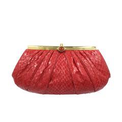 Valentine Red Judith Leiber Python Handbag.