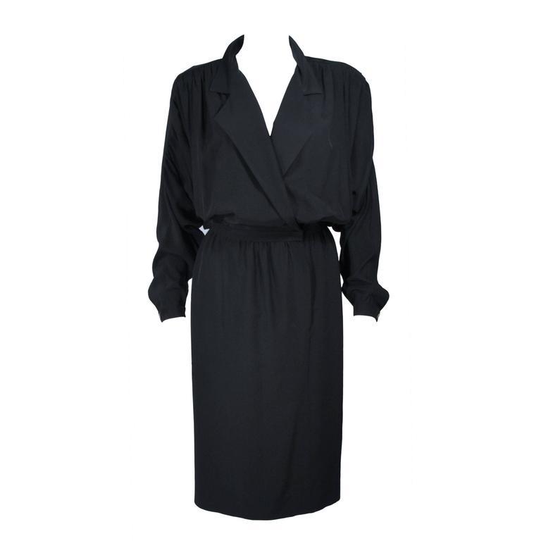 CHANEL Black Silk Draped Secretary Style Dress Size 2  1