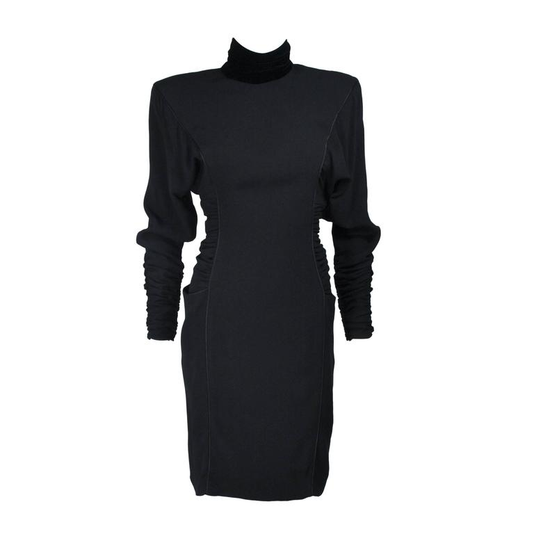 EMANUEL UNGARO 1980s Silk Long Sleeve Dress with Velvet Trim Size 8