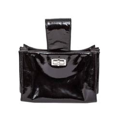 Chanel Patent Mademoiselle Lock Convertible Wrist Clutch Bag Black