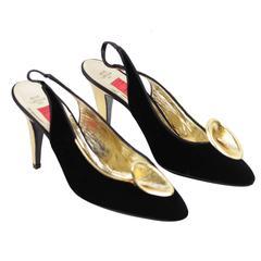 VALENTINO  NIGHT Vintage Black Velvet SLINGBACK Heels SHOES Flower 8 1/2