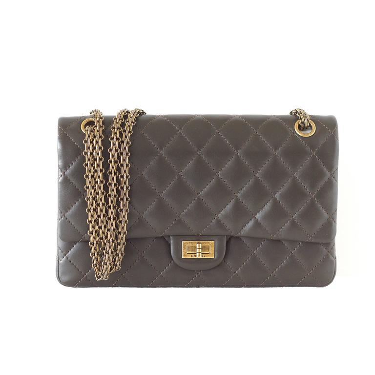 CHANEL 2.55 Medium Bag Classic Double Flap Dark Olive Khaki new 1