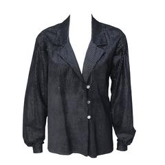 1980s Adri Silver and Black Suede Jacket