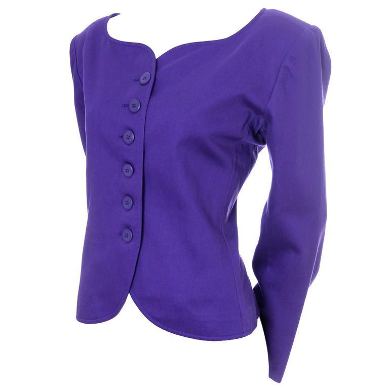 Vintage YSL Blazer Purple Yves Saint Laurent Size 40 Rive Gauche 1