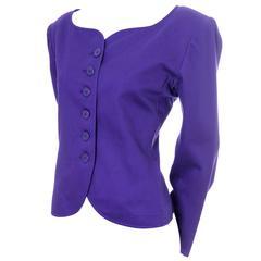 Vintage YSL Blazer Purple Yves Saint Laurent Size 40 Rive Gauche