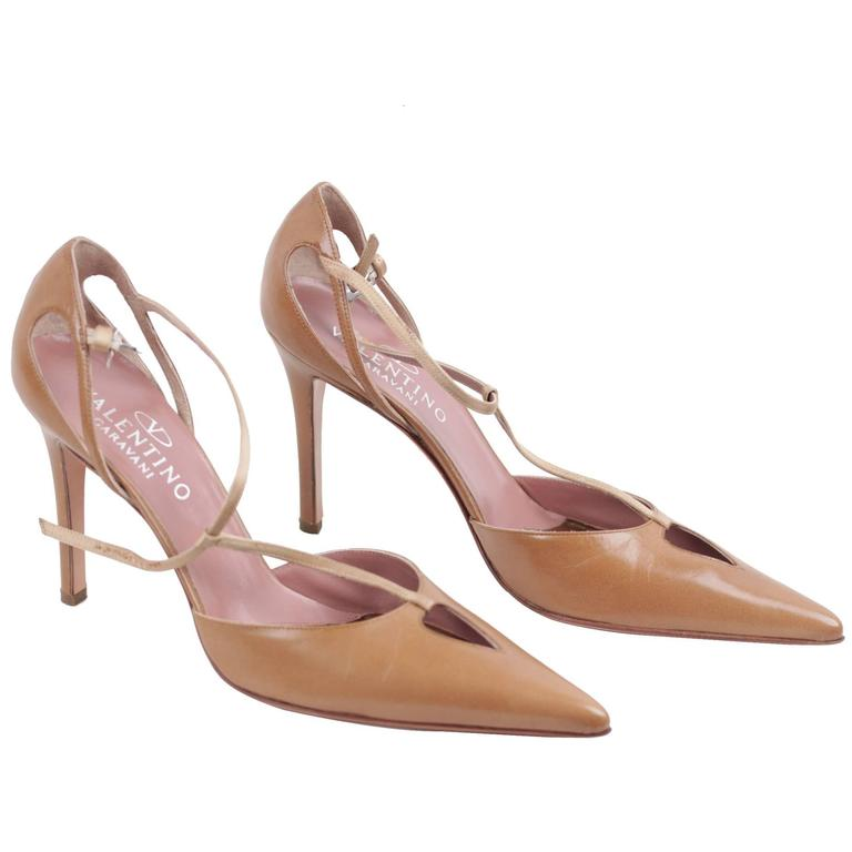 Valentino Garavani Vintage Tan Leather Salome Pumps Heels Shoes