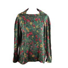 HERMES PARIS Vintage 1975 Green Floral Silk BLOUSE Shirt SIZE SMALL