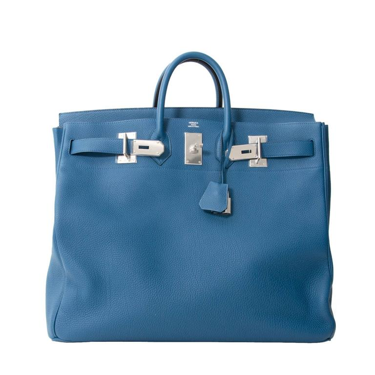 4910f764466 Brand New Rare Hermès Hac 50 Blue De Galice Togo at 1stdibs