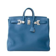 Brand*New Rare Hermès Hac 50 Blue De Galice Togo