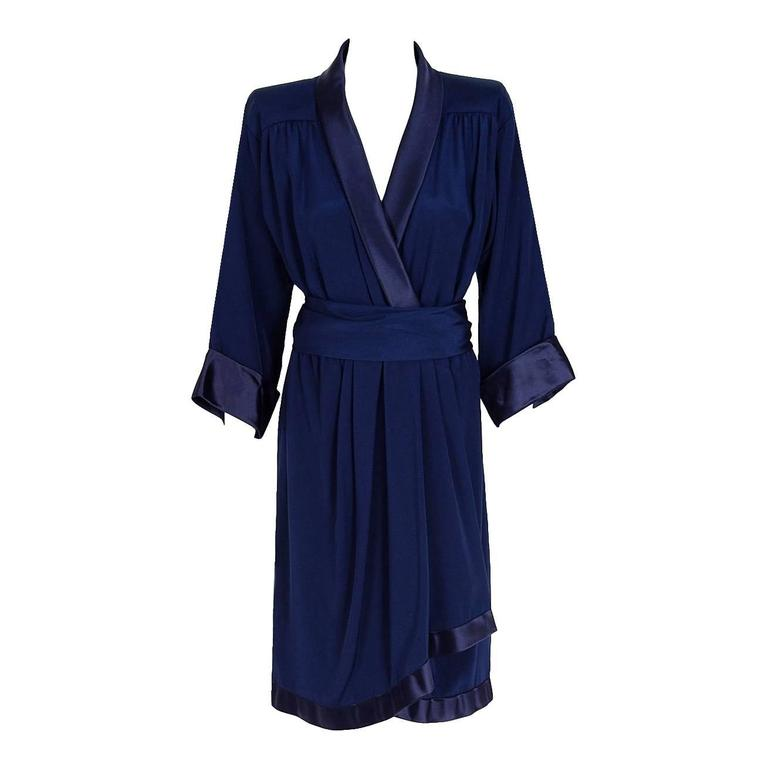 1979 Yves Saint Laurent Haute-Couture Navy Silk & Satin Kimono Sash Wrap Dress For Sale