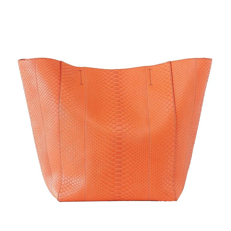 Celine Bag Orange Phantom Cabas Snakeskin Tote Shoulder Bag
