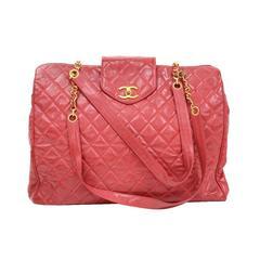 Chanel Red Vinyl Gold Chain HW Supermodel Weekender Travel Tote Shoulder Bag