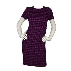 Oscar De La Renta Purple & Black Wool Dress sz 2