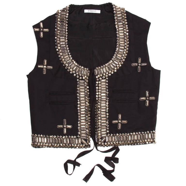 Givenchy Black Cotton & Rhinestone Vest