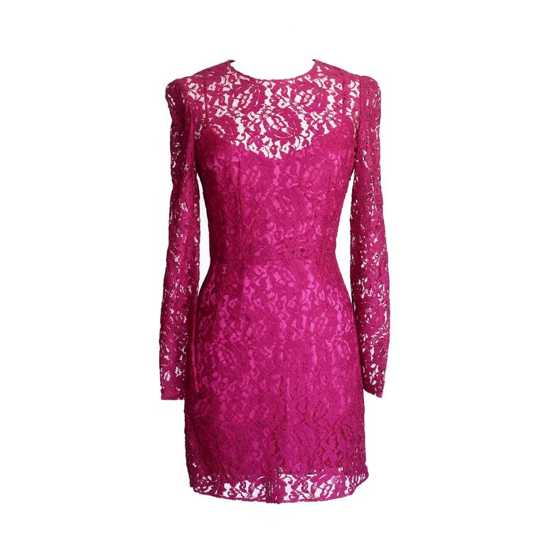 Dolce&Gabbana Dress Hot Magenta Pink Lace  42 / 6  nwt For Sale