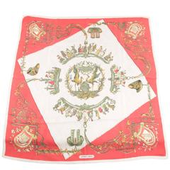 HERMES PARIS Vintage Red Silk Scarf ALSACE by F De La Perriere 1960