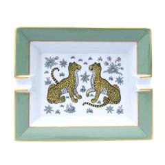 Hermes Cigar Ashtray Cheetah Guepards Porcelain 20 cm