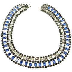 Vintage Oscar De La Renta Dark Blue Rhinestone Necklace with clip On Drop Earrin