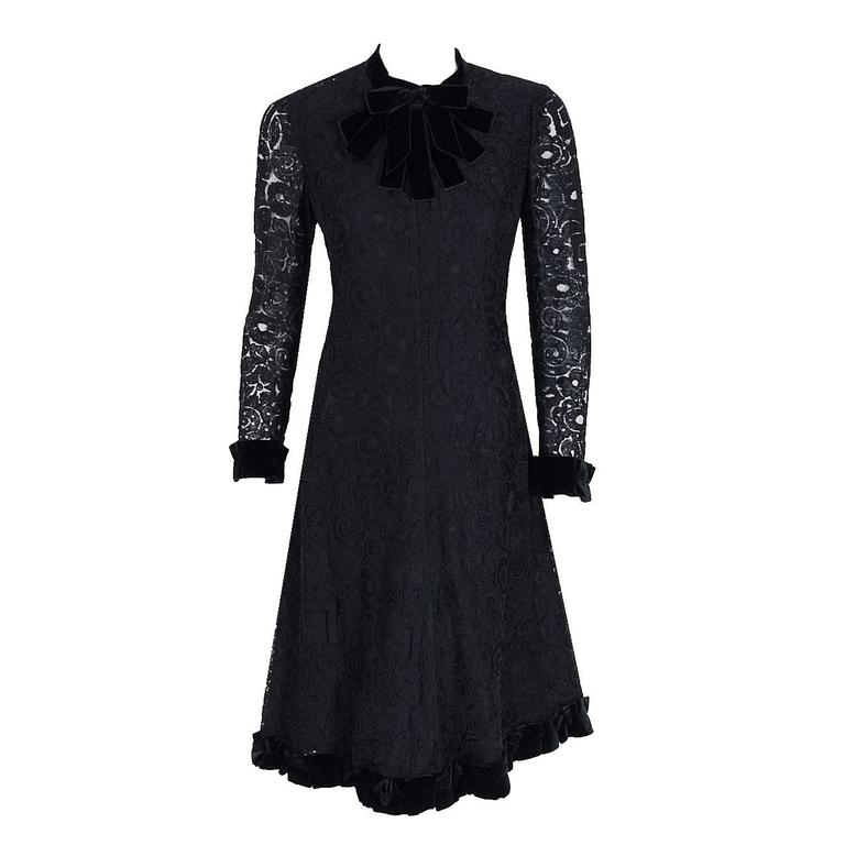1965 Yves Saint Laurent Haute-Couture Black Lace & Velvet Tuxedo-Bow Dress   1