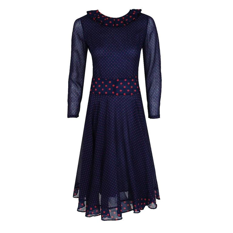 1974 Thea Porter Navy & Pink Polka-Dot Print Cotton Voile Long-Sleeve Dress