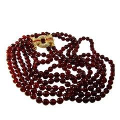 Nolan Miller Triple Strand Ruby Glass Bead & Rhinestone Necklace 1980s