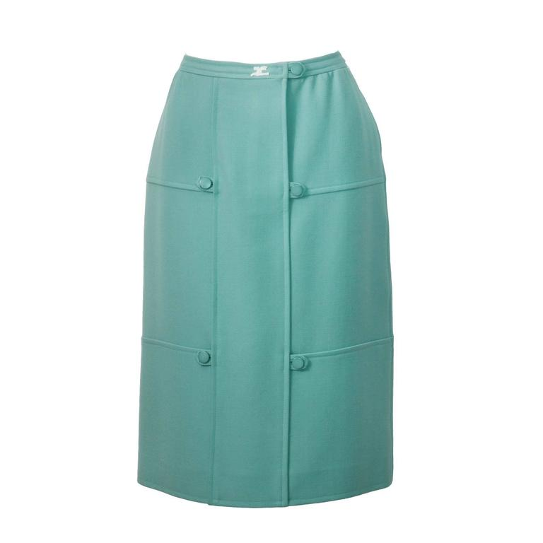 1960's Courreges Turquoise Wool Skirt  For Sale