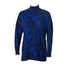 Early 1980's Fiorucci Blue Graphic Sweater