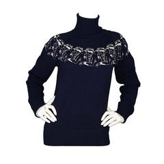 Chanel Navy Cashmere Turtleneck Sweater sz 40