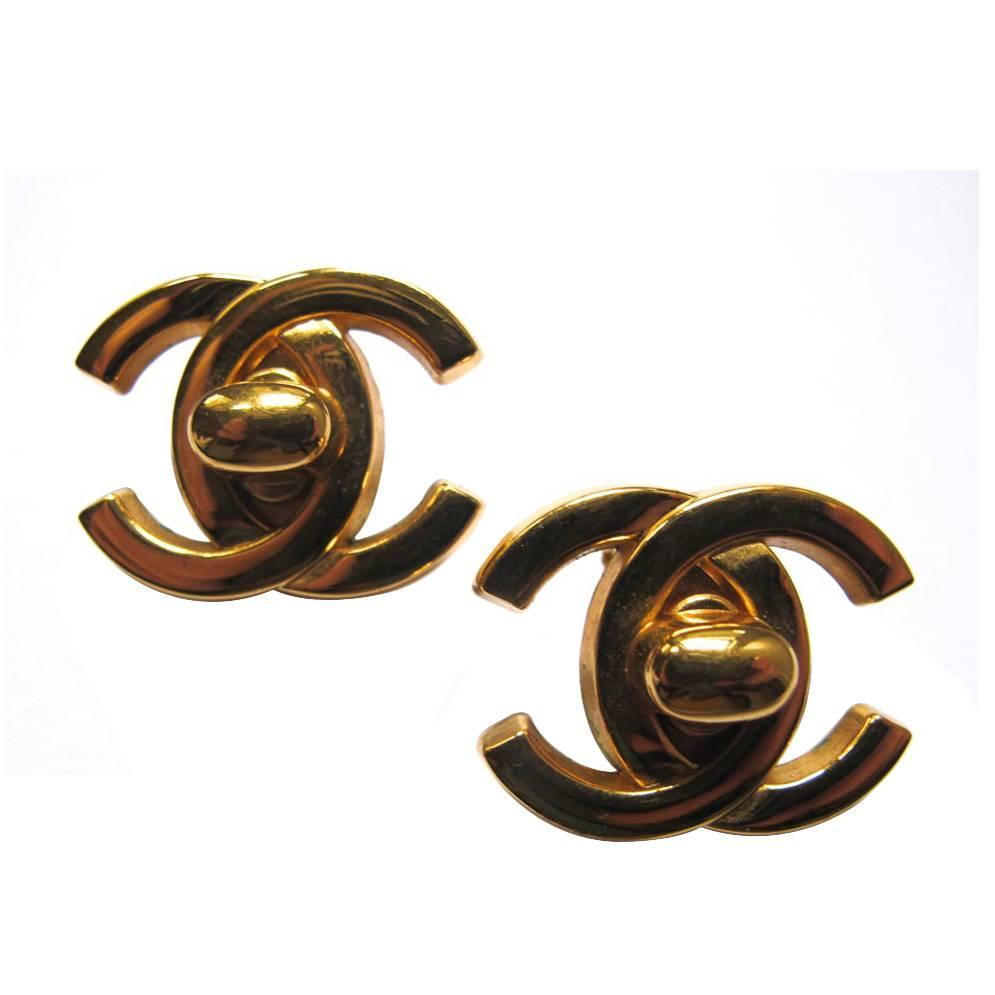chanel gold tone logo clip earrings for sale at 1stdibs