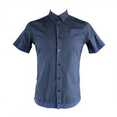RAF SIMONS Men's Size S Navy Cotton Ribbon Trim Short Sleeve Shirt