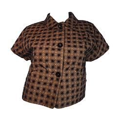 Piazza Sempione Brown and Black Embroidered 40s Style Cropped Cotton Jacket