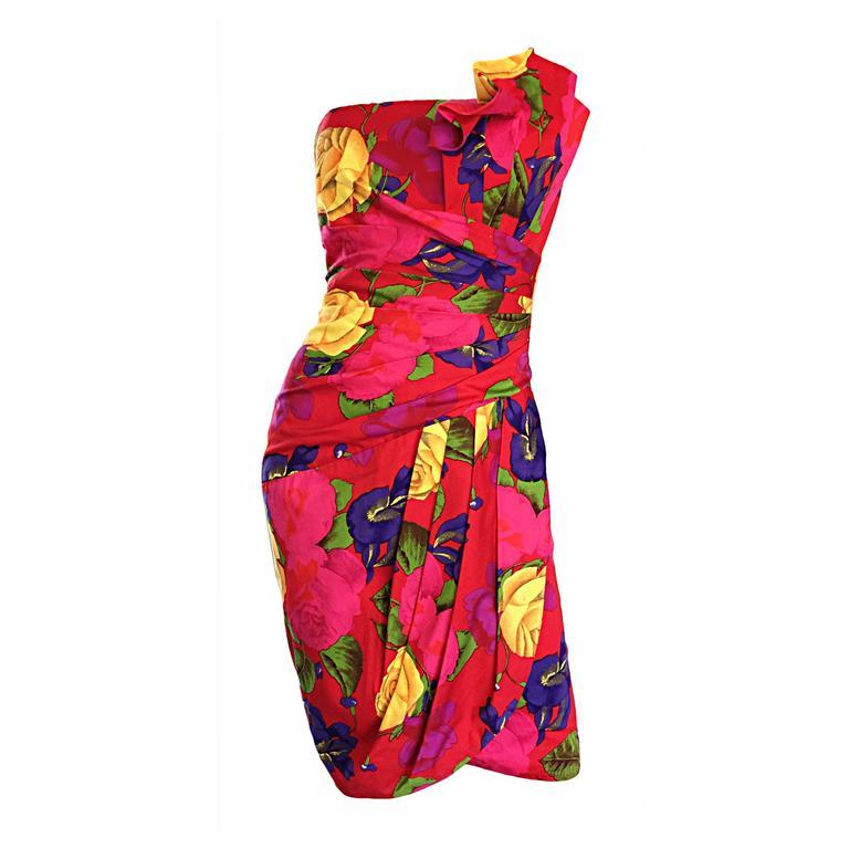Sexy Vintage Neiman Marcus Hawaiian Flower Print Strapless Origami Wiggle Dress