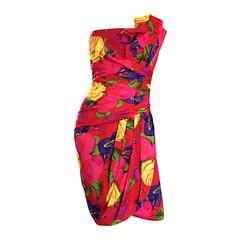 Vintage Neiman Marcus Size 6 / 8 Hawaiian Flower Strapless Origami Wiggle Dress