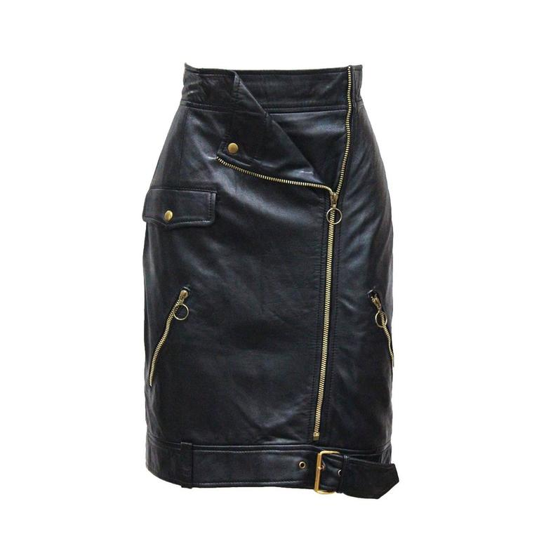 Moschino black leather biker skirt, c. 1990s For Sale