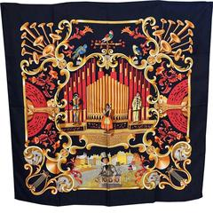 Hermes large silk scarf Orgauphone 1996 Francoise Faconnet