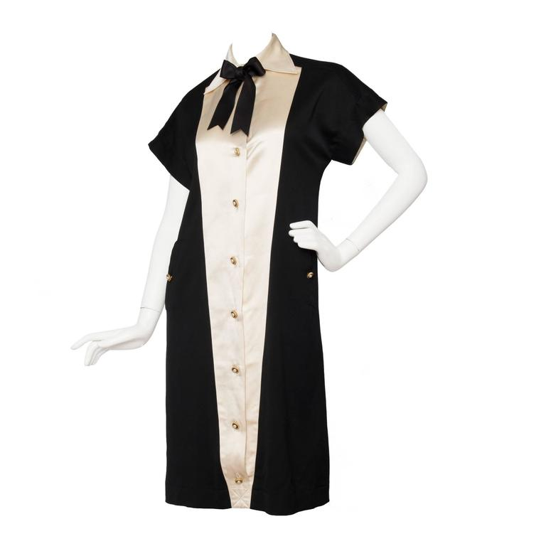 1980s Chanel Silk & Wool Cocktail Dress For Sale