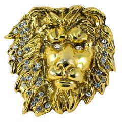 Laloon Large Figural Gold Metal Lion Head Belt Buckle with Rhinestones 1980s