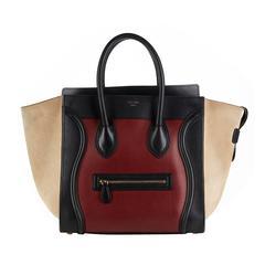 2012 Céline Tri-Colour Maroon Smooth Leather & Suede Mini Luggage Tote