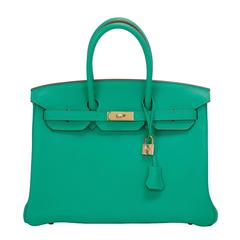 Hermes Menthe Leather Birkin 35cm Gold Hardware