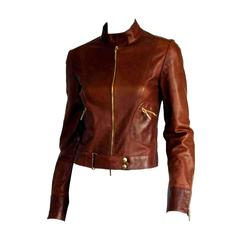 That Uber Rare & Iconic Tom Ford For Gucci SS 99 Tan Brown Leather Moto Jacket!
