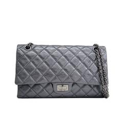 Chanel 2.55 Metallic Gunmetal Gray Pewter Calfskin Double Flap Shoulder Bag
