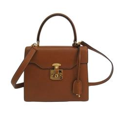 Gucci Cognac Brown Leather Gold Hardware Kelly Box Top Handle Shoulder Bag