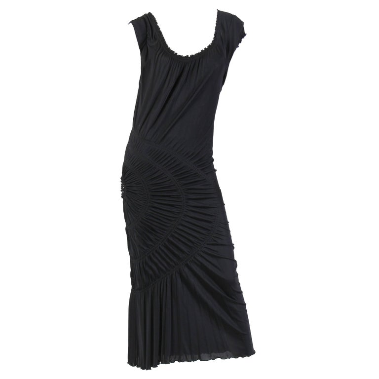 1990S JEAN PAUL GAULTIER Black Jersey Cocktail Dress With Spiral Ruching NWT For Sale